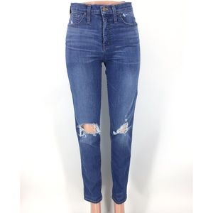Madewell Slim Straight 29 Tall Distressed Jeans